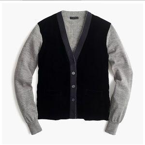 J.Crew Harlow cardigan sweater with velvet front